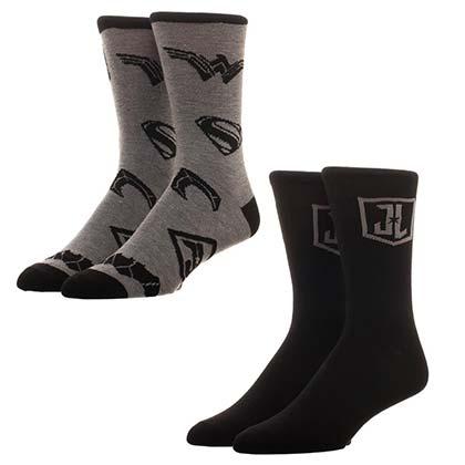 Justice League 2-Pack Black Mens Crew Socks