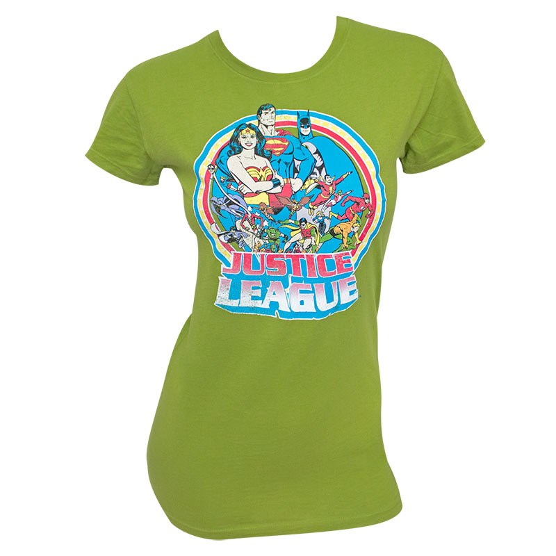 Justice League Vintage Circle Women's Green Tee Shirt