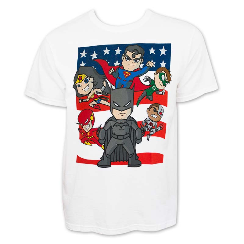 Justice League Men's White Cartoon T-Shirt