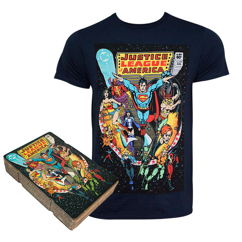 0e24256bc Justice League Men's Black Comic Cover Boxed T-Shirt | SuperheroDen.com
