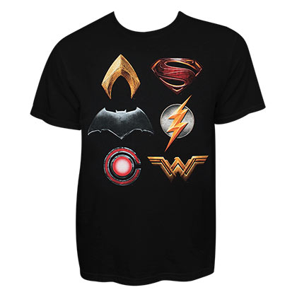 Justice League Stacked Logo Black Tee Shirt