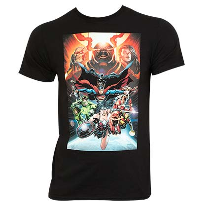 Justice League Comic Panel Black Tee Shirt