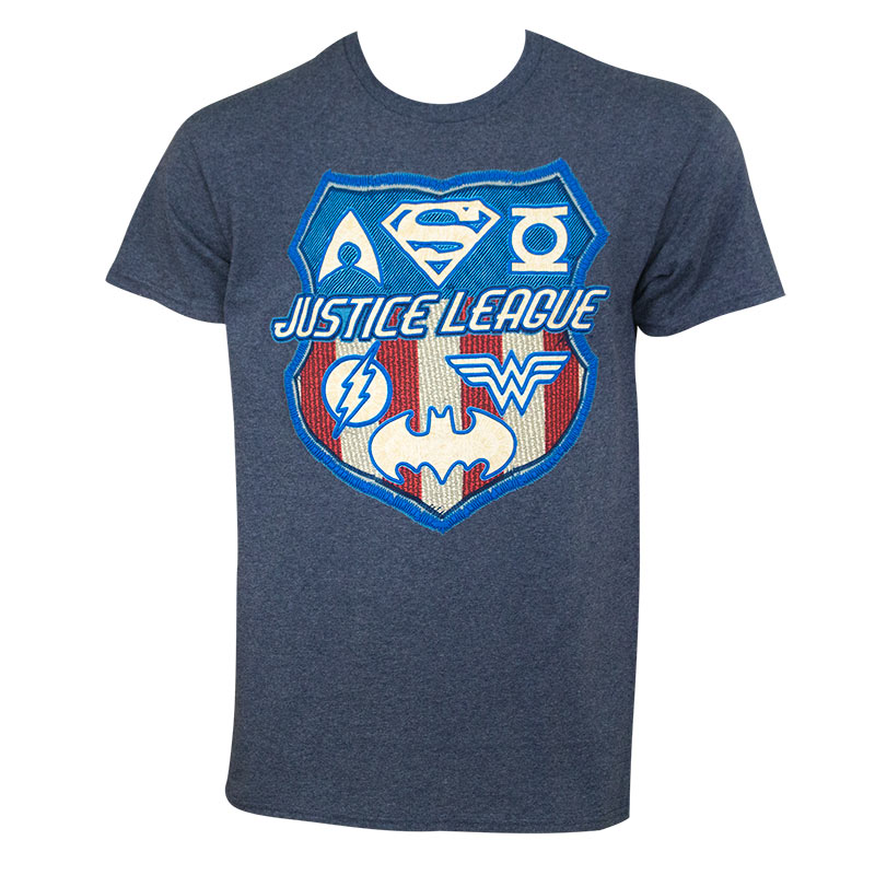 Justice League Men's Navy Blue Patriotic Crest T-Shirt
