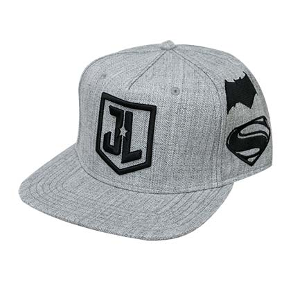 Justice League Embroidered Superhero Logo Grey Snapback Hat