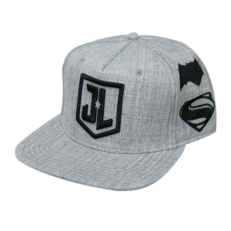 Justice League Grey Snapback Embroidered Logo Hat