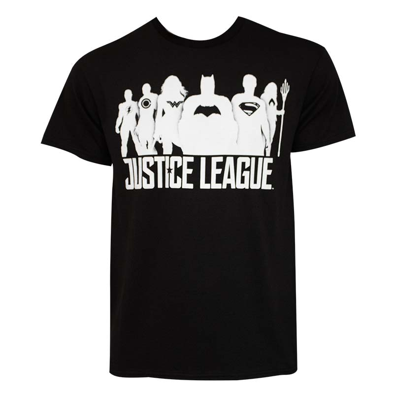 Justice League Silhouettes Black T-Shirt