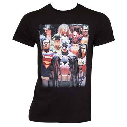 Justice League Men's Black Slim Fit T-Shirt