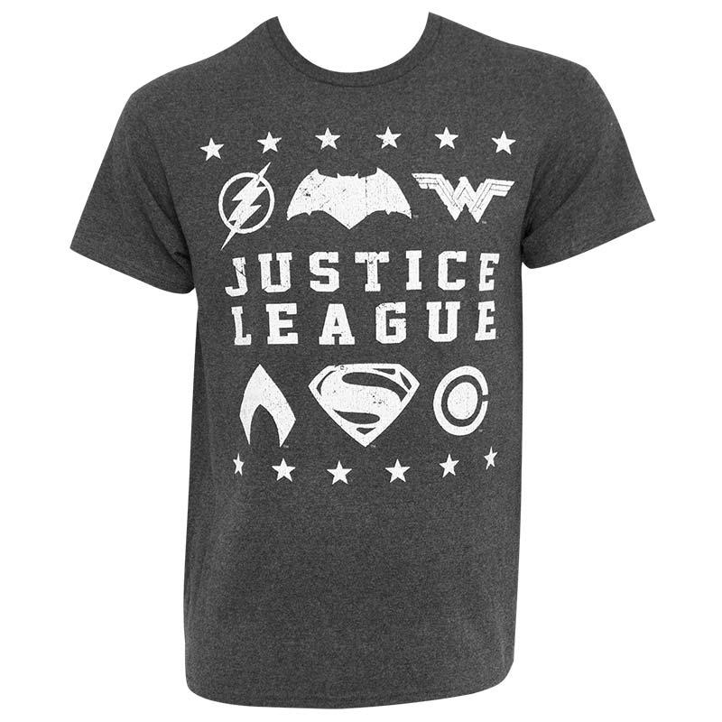 Justice League Men's Grey Superhero Logo T-Shirt