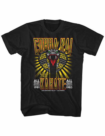 Karate Kid Tattoo Cobra Black Tee Shirt