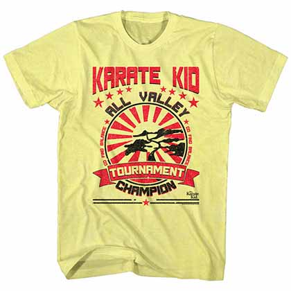 Karate Kid Balanced Champion Mens Yellow T-Shirt