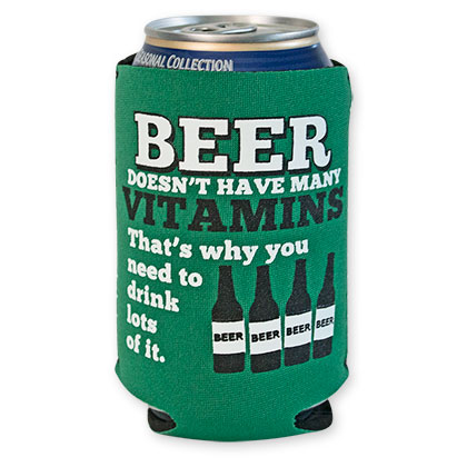Beer Vitamins Green Can Cooler