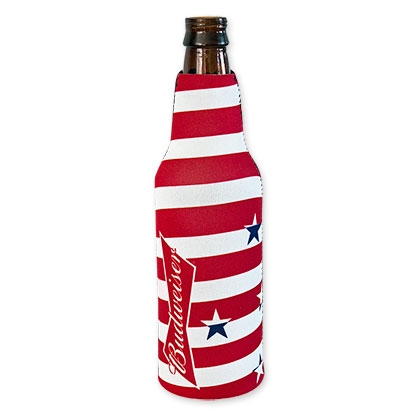 Budweiser Red And White Stars And Stripes Koozie