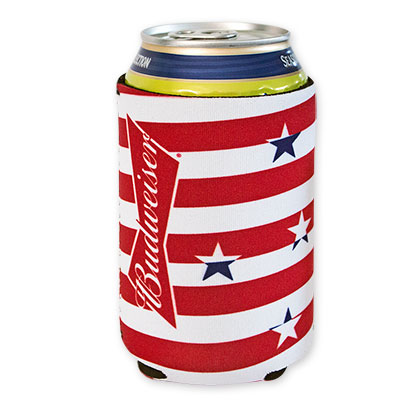 Budweiser Red And White Stars And Stripes Can Koozie
