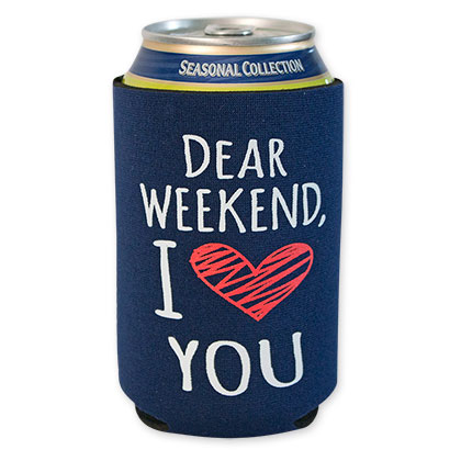 I Love You Weekend Navy Blue Beer Can Cooler