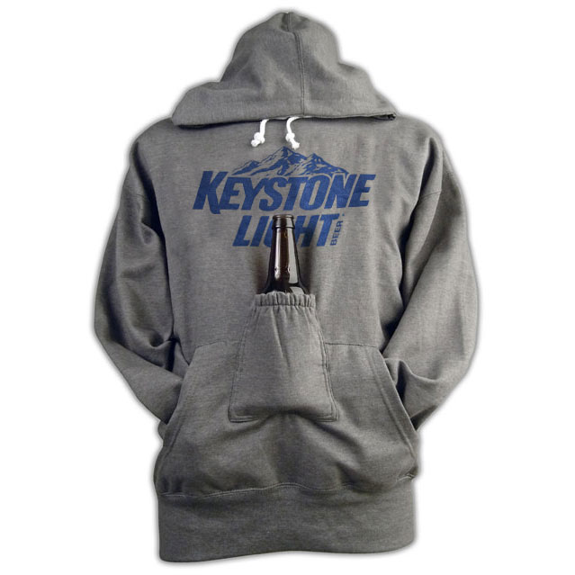 Keystone Light Logo Grey Beer Holder Pouch Hoodie Sweatshirt
