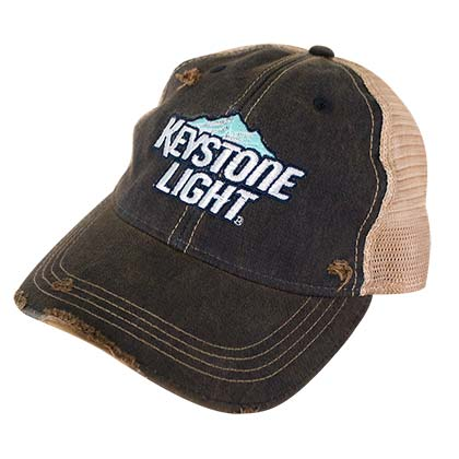 Keystone Light Brown Distressed Mountain Logo Mesh Trucker Hat
