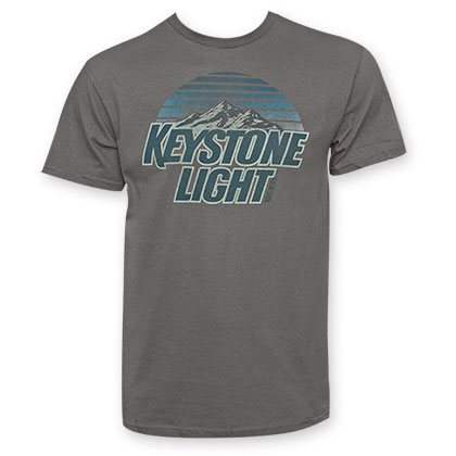 Keystone Light Men's Blue Logo Grey T-Shirt