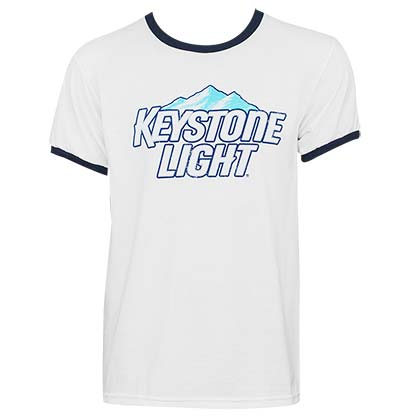 Keystone Light Classic Logo Men's White Ringer T-Shirt