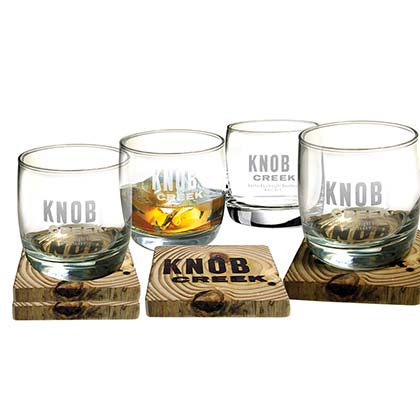 Knob Creek Four-Pack Coasters And Glasses
