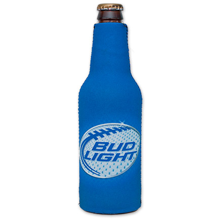 Bud Light Zip-Up Football Blue Bottle Suit Koozie