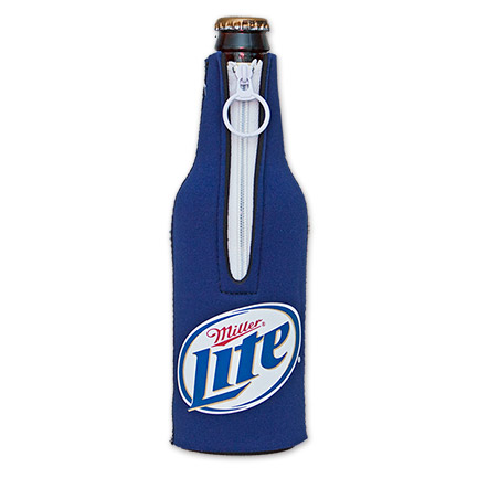 Miller Lite Logo Bottle Suit Koozie - Blue