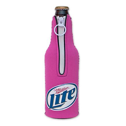 Miller Lite Logo Bottle Suit Koozie - Pink