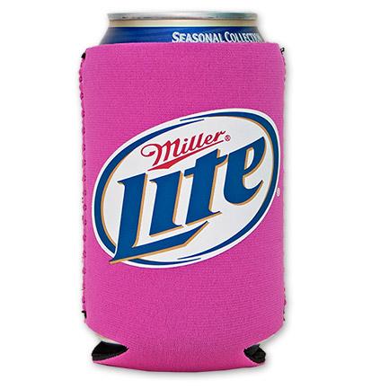 Miller Lite Logo Cooler Can Koozie - Pink