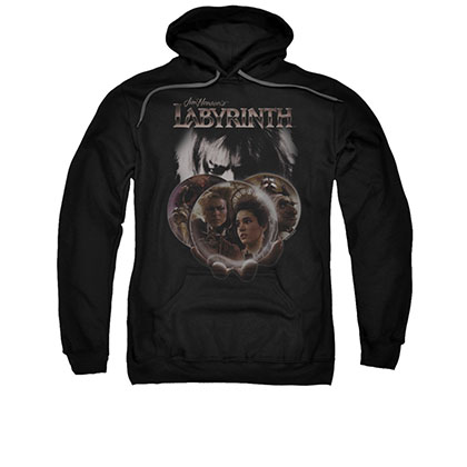 Labyrinth Globes Black Pullover Hoodie