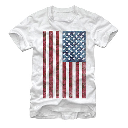 American Flag Patriotic USA White T-Shirt