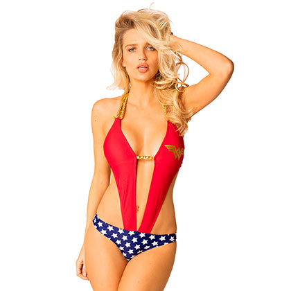 Wonder Woman Comic Chain Plunge Monokini