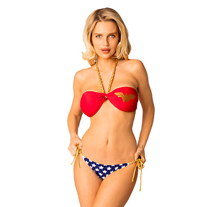 Wonder Woman Comic Chain Twist Bandeau Bikini