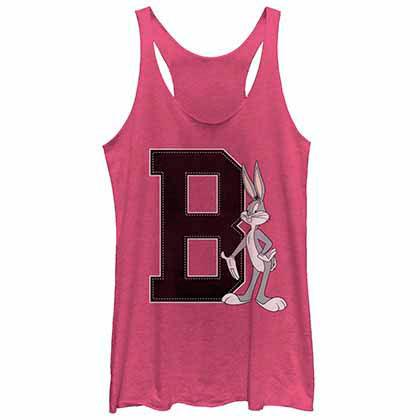 Looney Tunes Bugs Varsity Pink  Juniors Tank Top