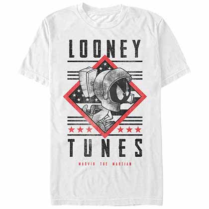 Looney Tunes Marvin Text White T-Shirt