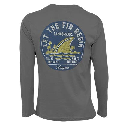 Landshark Long Sleeve Grey Let The Fin Begin T-Shirt