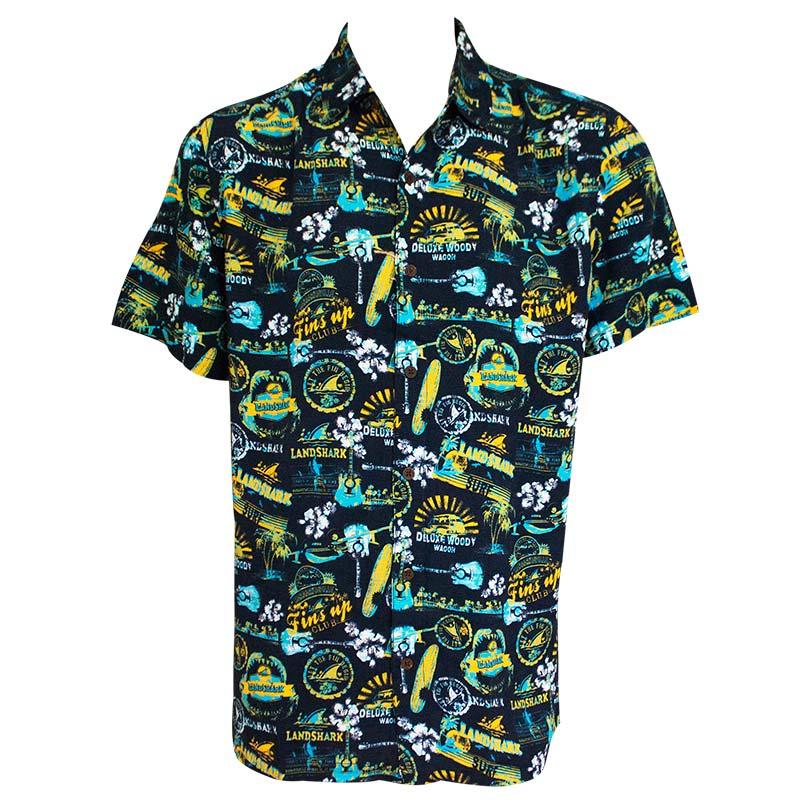 1ca32016b Landshark Men's Midnight Blue Hawaiian Shirt