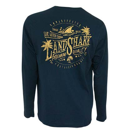 Landshark Men's Navy Blue Save Water Long Sleeve T-Shirt