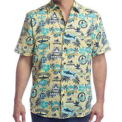 Landshark Button Down Short Sleeve Hawaiian Aloha Yellow Men's Shirt