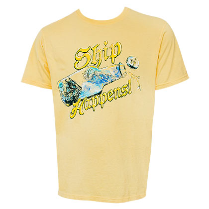 Landshark Beer Ship Happens Yellow Tshirt