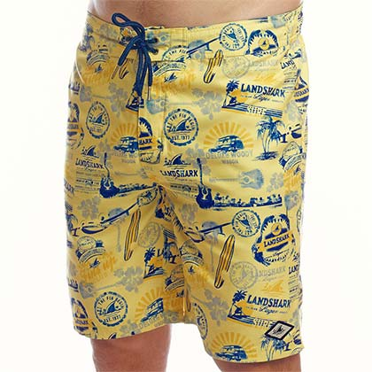 Landshark All-Over Logo Men's YellowTrunks Boardshorts