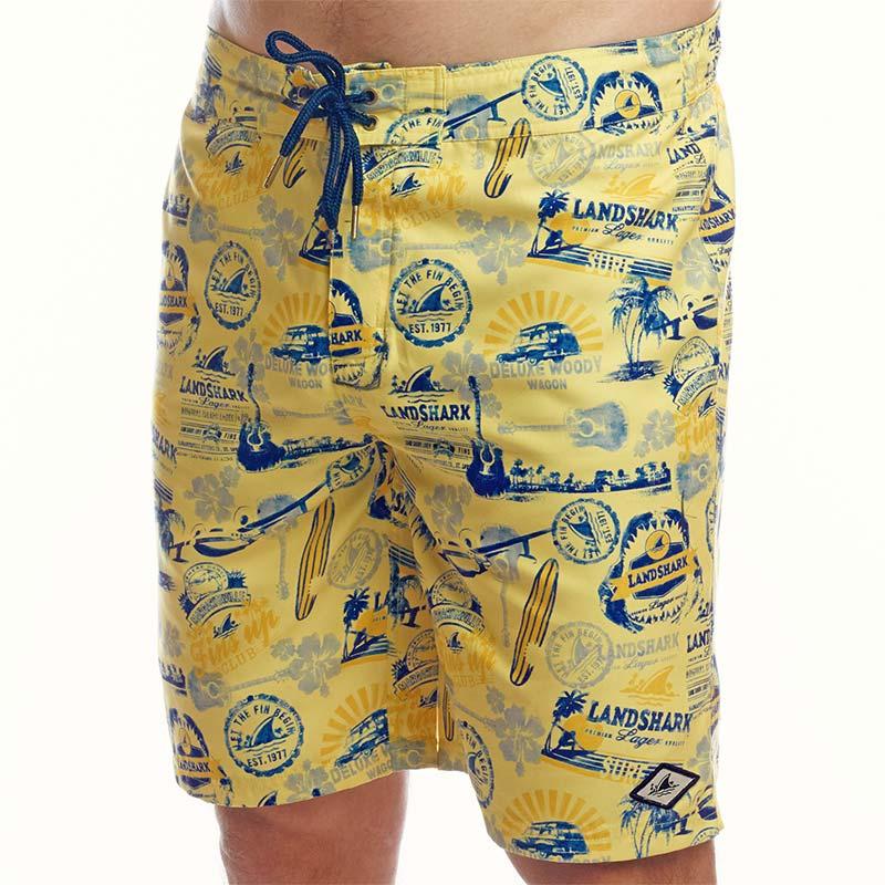 Landshark All-Over Logo Men's YellowTrunks Boardshorts