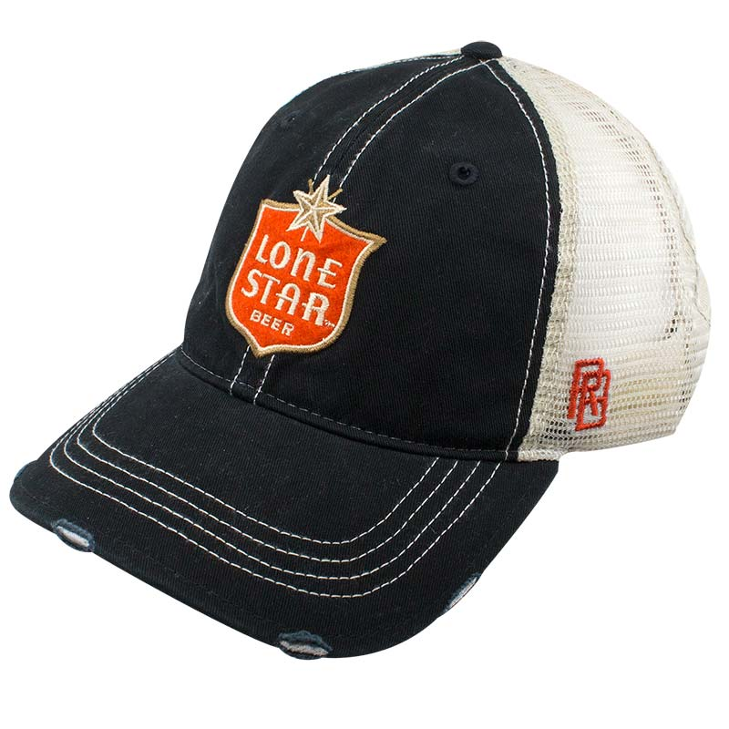 Lone Star Beer Retro Brand Black Vintage Mesh Hat