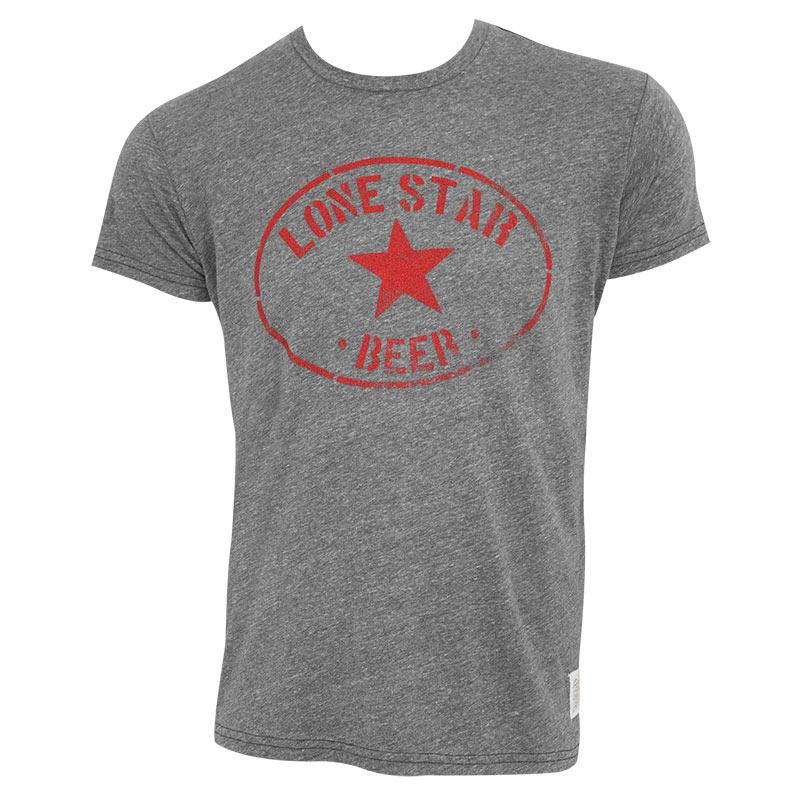 Lone Star Men's Gray Retro Brand Round Logo T-Shirt
