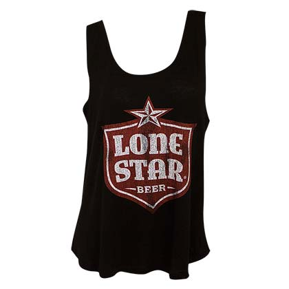 Lone Star Retro Brand Women's Black Shield Logo Tank Top