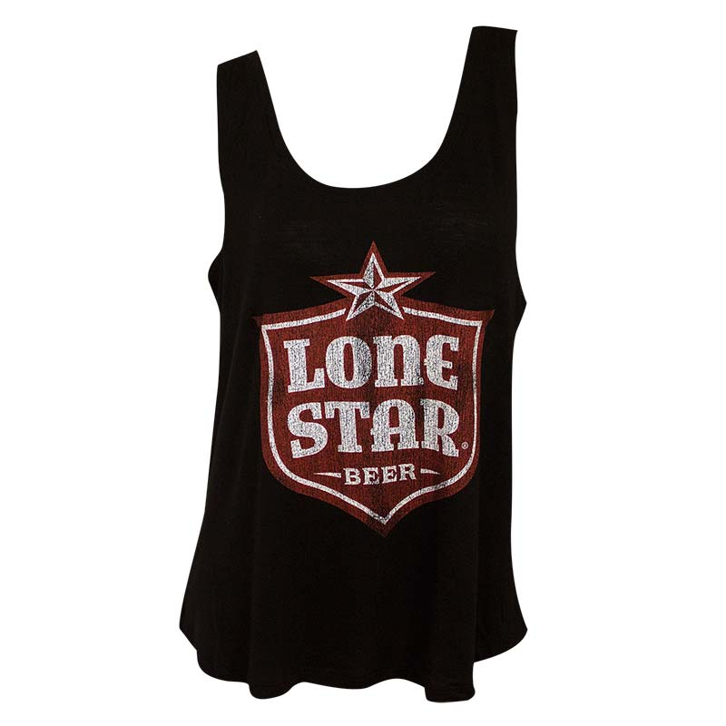 Lone Star Women's Black Retro Brand Shield Logo Tank Top