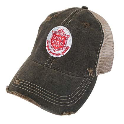Lone Star Patch Distressed Retro Brand Men's Brown Trucker Hat