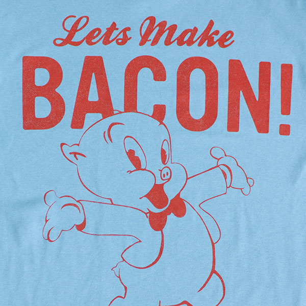 Looney Tunes Porky Pig Make Bacon Men's Tee - Sky Blue