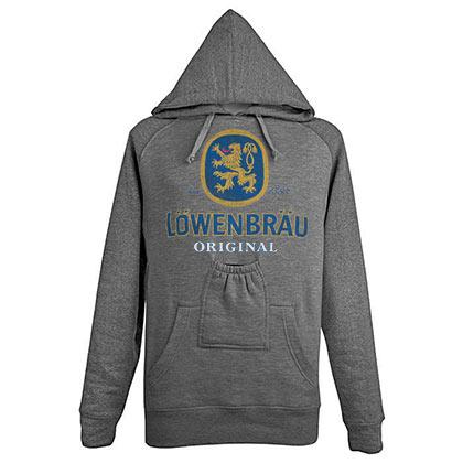 Lowenbrau Beer Pouch Grey Hoodie