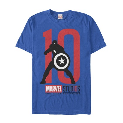 Captain America The First 10 Years Blue Tshirt