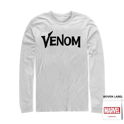 Venom Text Logo White Long Sleeve Shirt