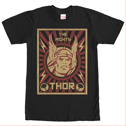 Avengers Thor Poster Black T-Shirt